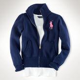 Ralph Lauren 7-16 Cotton Mockneck Zip Cardigan