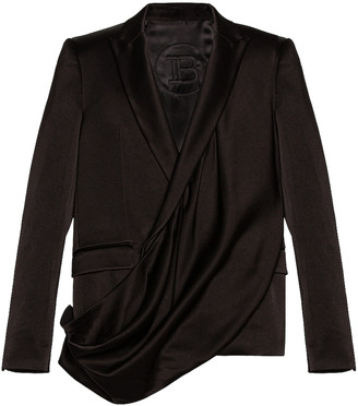 Balmain Draped Crossed Front Satin Jacket in Noir | FWRD