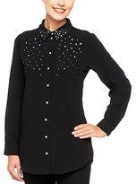 Black Embellished Button-Up