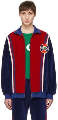Gucci Blue and Red Velour Oversized Track Jacket
