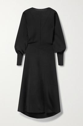 Victoria Beckham Open-back Stretch-knit Midi Dress - Black