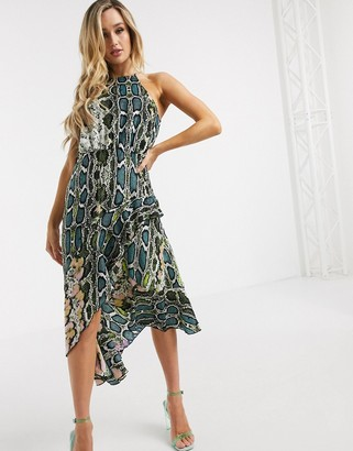 Forever Unique Forever U by high neck midi dress with ruffle in snake print
