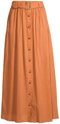 Lisa Marie Fernandez Belted Crinkle Crepe A-Line Maxi Skirt