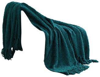"Boon Throw & Blanket Fluffy Jumbo Knitted Throw Blanket, Dark Teal, 60"" X 80"""