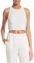 Theory Women's Nikayla Stripe Linen Crop Top