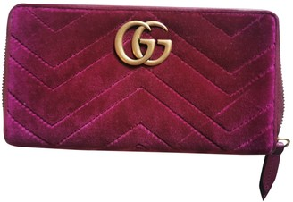 Gucci Marmont Burgundy Velvet Wallets