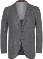 Isaia Grey Wool, Silk, Linen And Cashmere-blend Blazer