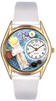 Whimsical Watches Women's C0630011 Classic Gold Massage Therapist White Leather And Goldtone Watch