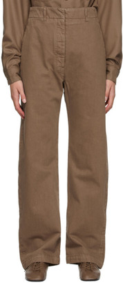 Lemaire Brown Denim Curved Trousers