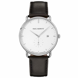 PAUL HEWITT Grand Atlantic Line White Sand - Men's Stainless Steel Watch with Black Leather Bracelet White Dial