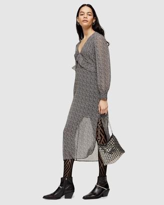 Topshop Bust Frill Midi Dress