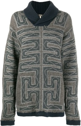 Gianfranco Ferré Pre Owned 2000s Chunky Knit Geometric Pattern Jumper