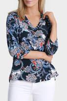 Jump 3/4 Sleeve Oriental Paisley Print Shirt