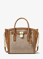 Michael Kors Hamilton Large Canvas And Leather Satchel