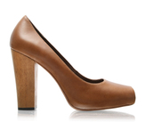 ASOS Premium Leather Peep Toe Wooden Heel Shoe