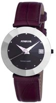 Jowissa Women's J5.258.XL Pyramid Black PVD Coated Stainless Steel Purple Leather Date Watch