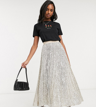 Asos DESIGN Tall sequin pleated midi skirt in silver