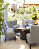 Horchow Tufted Outdoor Banquette, Granite