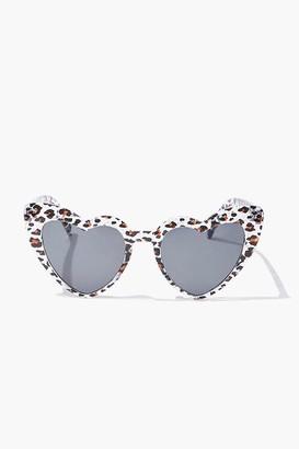 Forever 21 Heart-Shaped Leopard Print Sunglasses