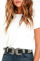 LuLu*s Hey Dude Black and Antiqued Silver Double Buckle Belt