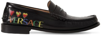 Versace Printed Hearts Leather Loafers