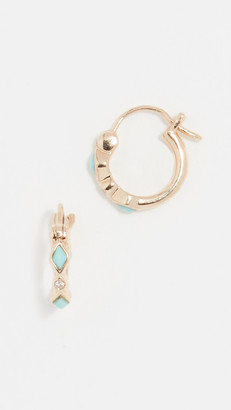 Sydney Evan 14k Turquoise Diamond Bezel Huggie Hoop Earrings