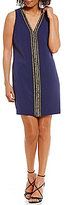 Laundry by Shelli Segal Beaded V-Neck Dress