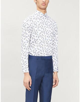 Ted Baker Floral-print regular-fit stretch-cotton shirt