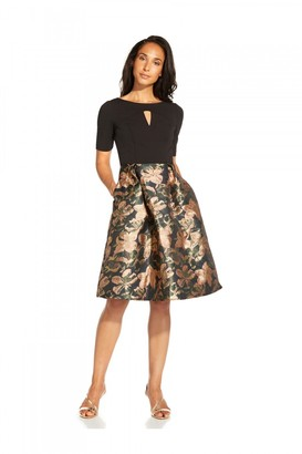 Adrianna Papell Jacquard And Crepe Dress