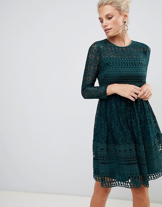 Asos Design DESIGN premium lace mini skater dress with long sleeves-Green