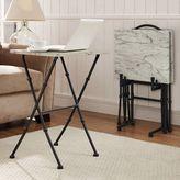 Linon Kildare Faux Marble Tray Table 4-piece Set