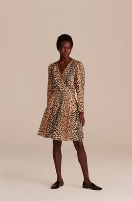 Rebecca Taylor Pebbled Leopard Smock Waist Dress