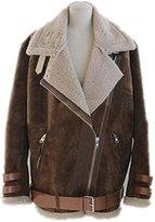 Friendshop Girls Winter Casual Cacel Wool Heated Cowl Neck Down Jacket Coat