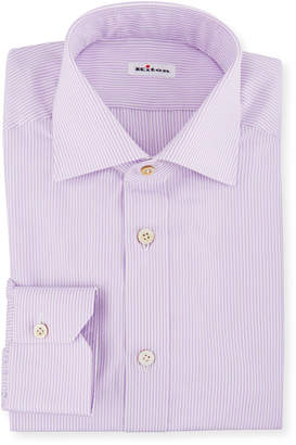 Kiton Men's Striped Barrel-Cuff Dress Shirt