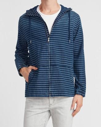 Express Striped Denim Hooded Shirt Jacket
