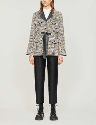 The Kooples Heavyweight tweed and leather jacket