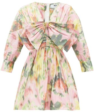 MSGM Bow-trimmed Floral-print Taffeta Mini Dress - Womens - Pink Print