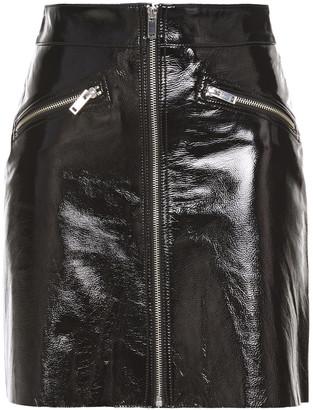 Maje Cracked Patent-leather Mini Skirt