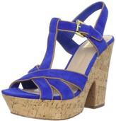 Dolce Vita Women's Taiga Platform Sandal Sandal, Bright Blue Suede, 9.5 M US