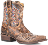 Stetson Crackle Brown Leather Embellished Cowboy Boot