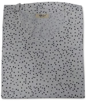 Style&Co. Style & Co Dot Drama Cotton Printed T-Shirt, Created for Macy's
