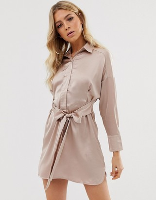 Club L London belted satin shirt dress