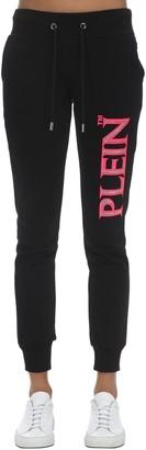 Philipp Plein Embellished Logo Print Jersey Sweatpants
