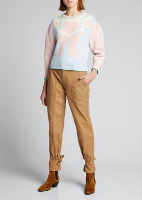 LoveShackFancy Emani Intarsia Crewneck Sweater