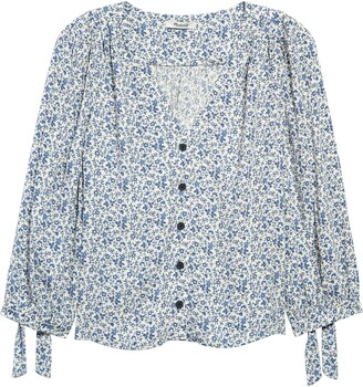 Madewell Americana Floral Tie Sleeve Button Front Top