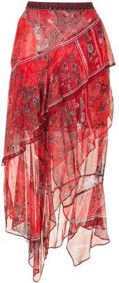 Camilla Pirate Punk-print silk skirt