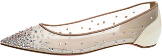Christian Louboutin Pearl White Mesh and Patent Leather Follies Strass Ballet Flats Size 35
