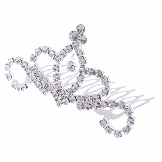 Magideal Glitter Crystal Rhinestone Princess Mini Hair Crown Tiara Girls Woman Hair Comb Fancy Dress Wedding Bride Headpiece - Silver 2