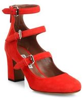 Tabitha Simmons Ginger Triple-Strap Suede Mary Jane Pumps