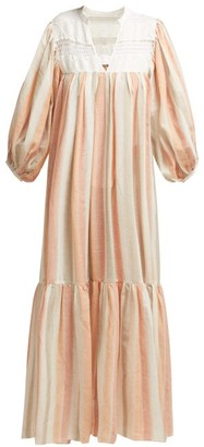 Binetti Love Light My Fire Striped Cotton Maxi Dress - Womens - Orange Stripe